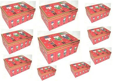 Set Of 10 Traditional Christmas Nutcracker Design Gift Boxes Red Merry Christmas