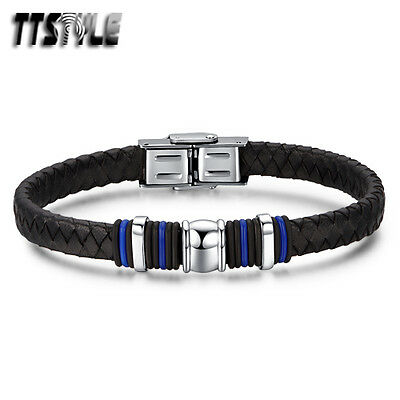TTstyle Black Genuine Leather 316L Stainless Steel Blue Wristband NEW