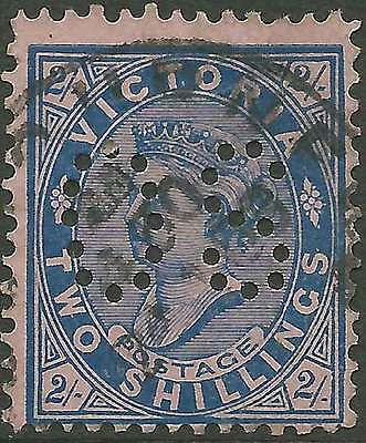 VICTORIA 1901-10 POSTAGE 2/- Blue on pink paper perfin OS ACSC94 cv$20 fine used