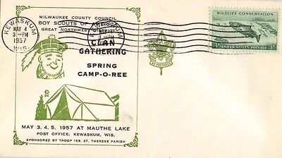 Boy Scouts Cover 1957 Milwaukee Clan Gathering Spring Camp-O-Ree Mauthe Lake