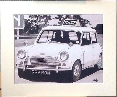 Mounted Print Of A Classic Mini Cooper S Police Car