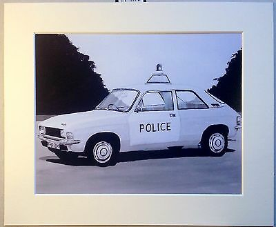Mounted Print Of A Classic AustIn Allegro Police Car