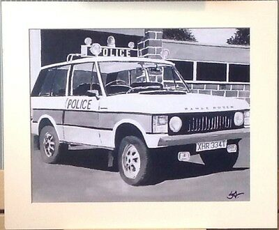 Mounted Print Of A Classic Police 4x4 Range Rover