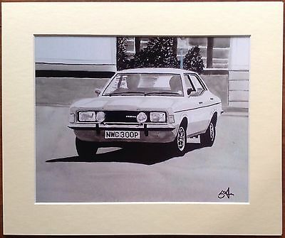 Mounted Print Of 'The Sweeney' Classic Mk.3 Ford Cortina 2000 GT