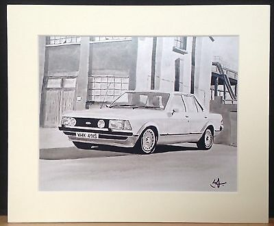 Mounted Print Of 'The Sweeney' Classic Mk.2 Ford Granada 2.8iS