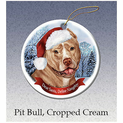 Pit Bull Cream Cropped Howliday Porcelain China Dog Christmas Ornament