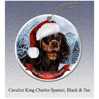 Cavalier King Charles Black Tan Howliday Porcelain China Dog Christmas Ornament