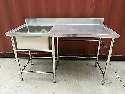 Brand New Stainless Steel Kitchen Single Sink with Bench 1500 x 700 x 900 mm