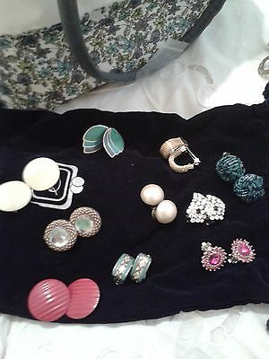 1960's set of 10 clip ear rings vgc