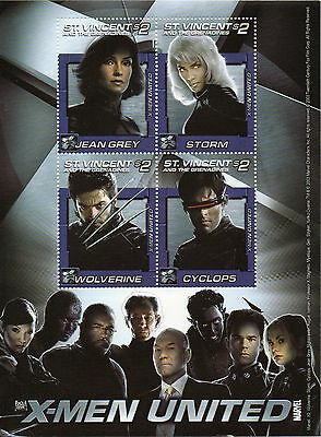 St Vincent, Marvels X Men miniature  sheet  UM (MNH)