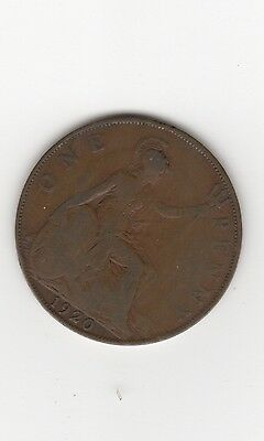 1920 UK Great Britain British One 1 Penny King George V WWI Era Coin