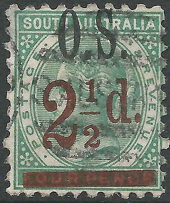 SOUTH AUSTRALIA 1891 2 1/2d on 4d Green opted O S ACSC 53 attractive fine used