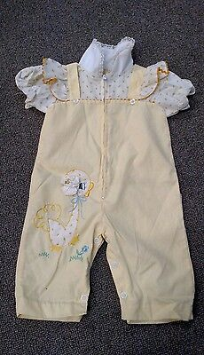 Cute Vintage Yellow Baby Jumpsuit Size 6-9M