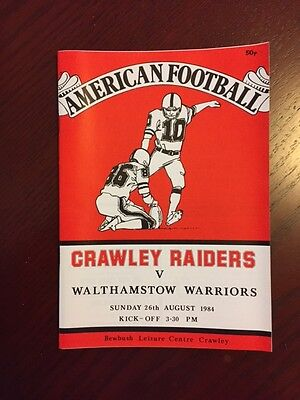 Crawley Raiders v Walthamstow Warriors 1984 American Football Programmes 12 page