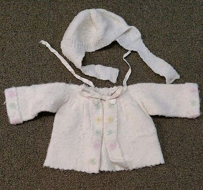 Vintage Hand Knitted Ivory Baby Sweater and Hat Size 0-3M