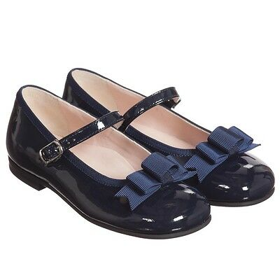 Il Gufo Baby Girls Navy Leather Bow Shoes Eu 22 Uk 5