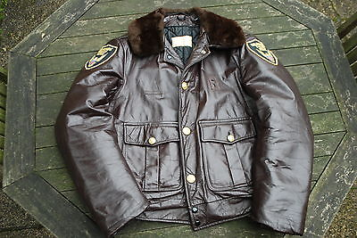 "blouson POLICE d'ORANGE ""taylors"" cuir vintage marron made in USA 40us"