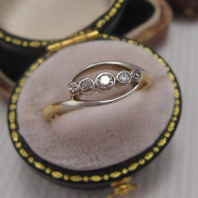 VINTAGE ART DECO 5 STONE DIAMOND TWIST RING in 18ct GOLD and PLATINUM size N