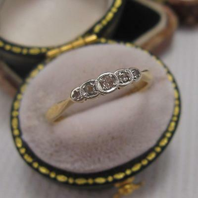 VINTAGE ART DECO PERIOD 5 STONE DIAMOND RING in 18ct and PLATINUM size M 1/2