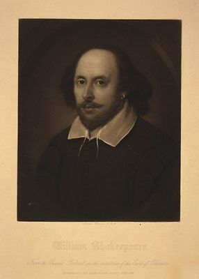 "LARGE RARE Original Vintage 19TH CENTURY ENGRAVING Titled ""William Shakespeare"""