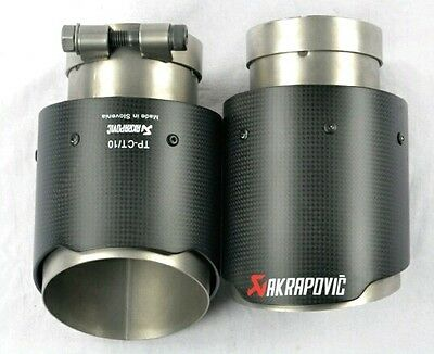 2 x Universal AKRAPOVIC Exhaust Tips New style Carbon Fiber and stainless steel