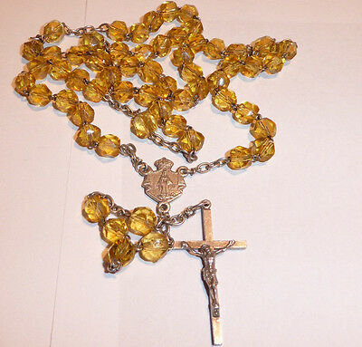 Antique Sterling Silver Rosary Prayer Faceted Beads Citrine Chaplet Ave Maria