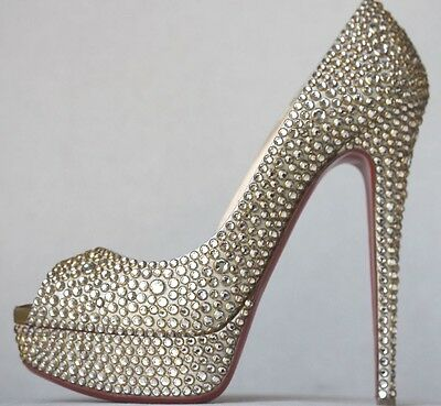 Christian Louboutin Lady Peep Strass Heels Pumps 38 Uk 5