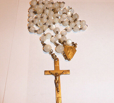 Antique Sterling Silver Gilt Rosary Prayer Beads Moon Stone Opalescent Chaplet