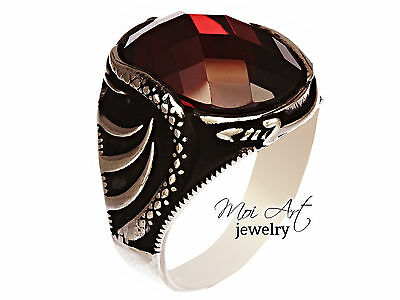 NEW Unique 925 Sterling Silver Handmade Ottoman Mens Gift Ring Ruby All Sizes