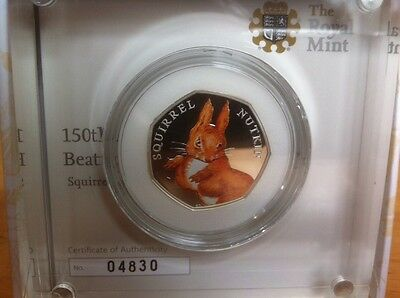 Squirrel Nutkin Beatrix Potter Silver Proof Coloured 50P Coin Royal Mint