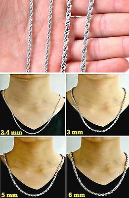 Wear-It 24/7 - 316L Stainless Steel 2mm To 6mm MENS & WOMANS ROPE CHAIN NECKLACE