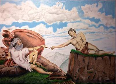 Creation Of The Creator, original art 38x28 inches drawing with frame. CLEARANCE