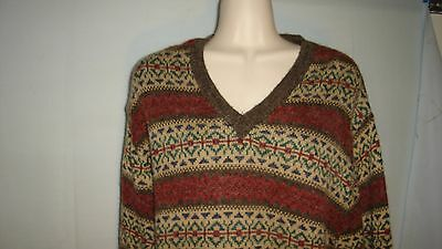 Vintage Montgomery Ward 1970's V Neck Geometric Design Sweater, Large