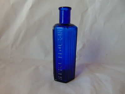 Cobalt Blue Poison Hexagon,not to be taken,Poisionous on shoulder factory flaw