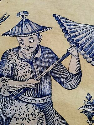 Chinoiserie Toile De Jouy Remnant Fabric Vintage Rare!