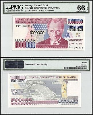Turkey 1 Million 1,000,000 (1000000) Lira, 1970 (ND2002), P-213, UNC, PMG 66 EPQ