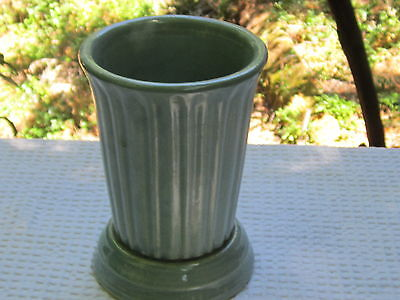 "Garden City Pottery vase 7"" high turqouise with ribs"