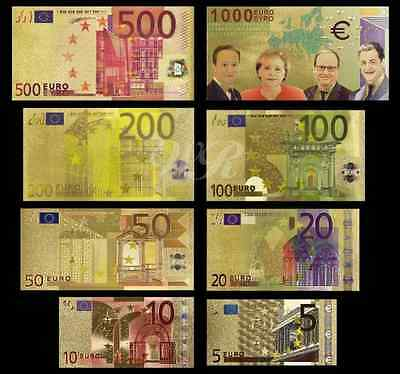 Lot of 5 Splendid Full sets EUR 5-1000 Gold foil polymer - 8 banknotes/set
