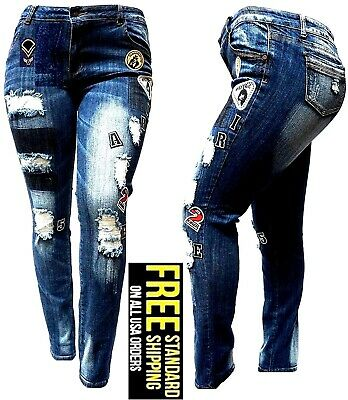 WOMENS PLUS SIZE Ripped Distressed Patches BLUE Denim Jeans Patch Stretch pants