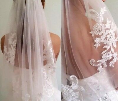 Short One Layer Waist Length Beaded Diamond White Wedding Veil Bridal Veil