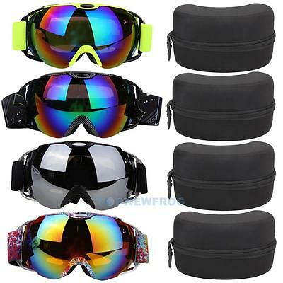 UV400 Double Lens Anti-fog Spherical Pro Ski Goggles Snowboard Glasses w/ Case