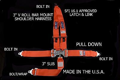 5 Point Racing V Harness Sfi 16.1 Latch & Link Seat Belt Bolt Orange  Ihra Adrl