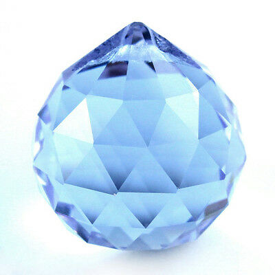 Blue Crystal Ball Sun Catcher Feng Shui Hanging Crystal Rainbow Prism 30Mm F6