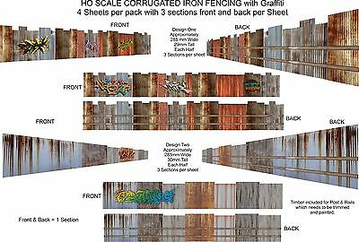 HO Scale Fencing Corrugated Iron Rustic Fencing With Graffiti Kit - CFWG1