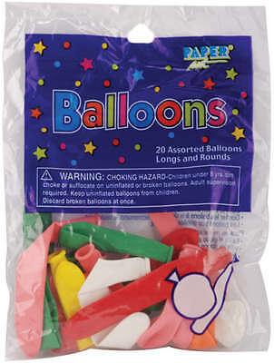 Balloons Long & Round Assortment 20/Pkg Assorted Colors 80047120