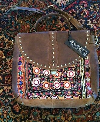 Vintage Addiction Brown leather vintage fabric Laptop, handbag briefcase BEAUTY!