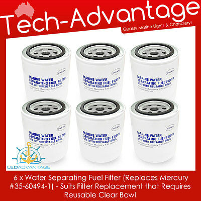 6 X Boat Fuel Filter Element For Reuseable Bowl (Mercury 35-60494-1, 35-807172)