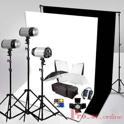 Photo Studio 900W Flash Lighting Kit Black White Backdrop Background Stand Local