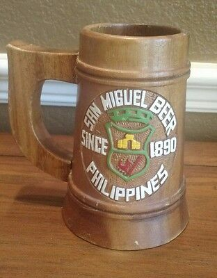 SAN MIGUEL BEER, Since 1890, Wooden Carved Mug, PHILIPPINES, Hand Painted