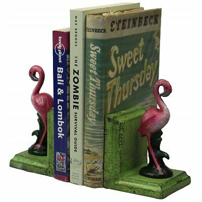 Hand Painted Cast Iron Small Flamingo Bookends - Green Base